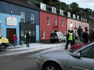 Balamory filming in fake snow on Main Street